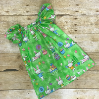 Easter Bunny Glitter Peasant Dress