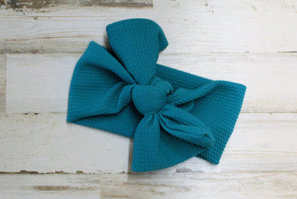 Emerald headwrap bow