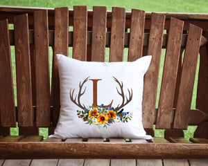 Fall Antler Monogram throw pillow