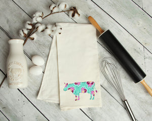 Floral Cow Kitchen Towel