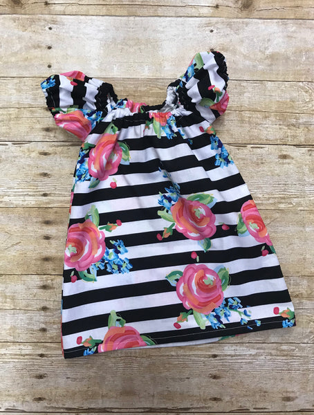 Stripes and Flowers Summer Peasant dress
