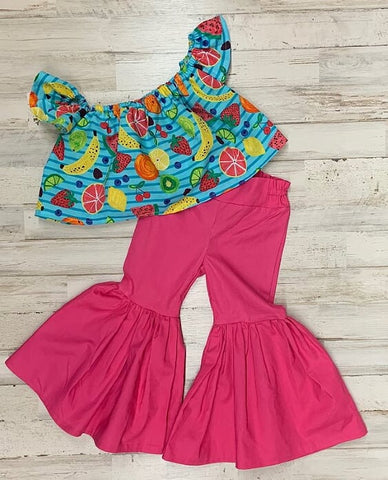Frootie Tootie Crop Top and Hot Pink Ruffle Bell Bottoms