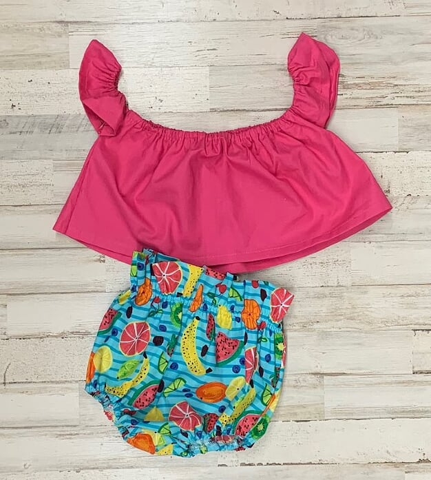 Pink Crop Top and Frootie Tootie Bloomers