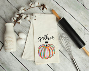 Gather pumpkin tea towel