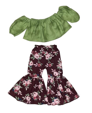 Sage Green Crop Top and Burgundy Floral Bell Bottoms