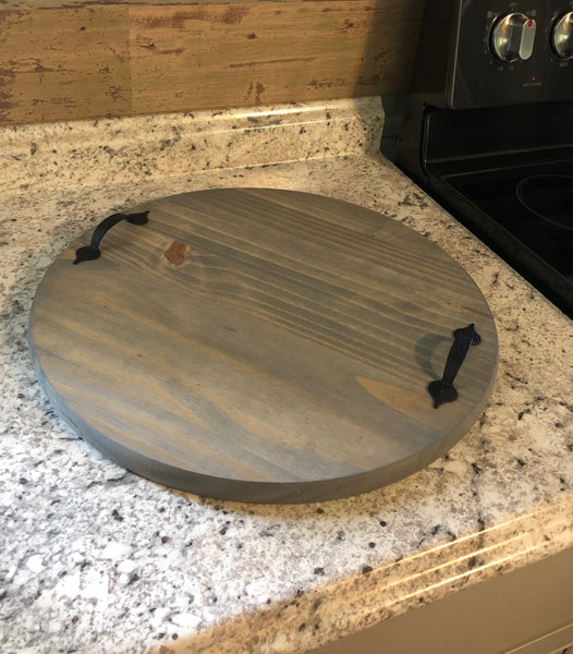 "24"" Round Decorative Wooden Serving Tray with a Gray Stain"
