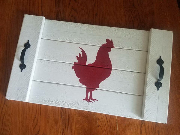 White wooden flat tray with red rooster