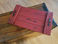 red decorative flat tray