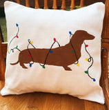 Santa Paws Dachshund Dog Christmas Merry Christmas throw pillow decorative pillow