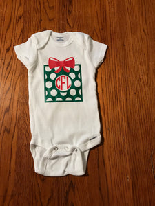 Christmas custom monogrammed onesie - Present onesie - Funny Onesie - Shower gift - baby clothes - baby gifts