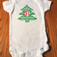 Christmas custom monogrammed onesie - christmas tree onesie - Funny Onesie - Shower gift - baby clothes - baby gifts