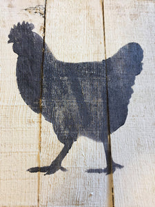 Chicken art, rooster art, on the farm pallet art, wall hanging, sign, kitchen decor
