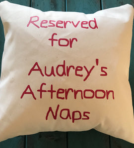 Personalized afternoon nap time pillow, custom reserved pillow, childrens pillows, toddler nap pillow
