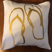 Flip flops throw pillow, beach pillow