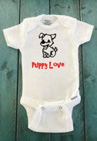 Puppy love onesie - Valentine's day onesie - Funny Onesie - Shower gift - baby clothes - newborn onesie
