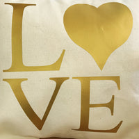 Gold Love throw pillow cover, pillow