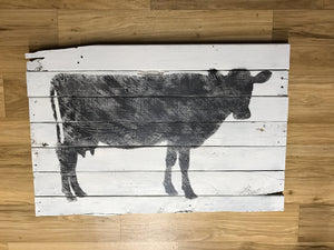 Wooden Pallet Cow Art 36 x 21