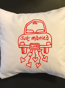 Just married throw pillow, cutomized pillow, wedding, engagement, anniversary gift