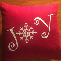 Christmas Joy throw pillow, red Christmas throw pillows