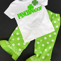 St Patrick's Day Toddler Girl Pinch Proof Shirt and Ruffle Pants set