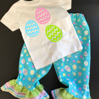 Girls Easter outfit,  Ruffle pants spring outfit, Easter Egg outfit, Easter Egg shirts