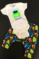 Personalized Monster Bodysuit and Pants Infant or Toddler Jogger Outfit