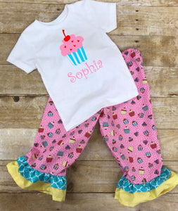 Birthday Outfit, Cupcakes pants and shirt, Toddler girl birthday clothes