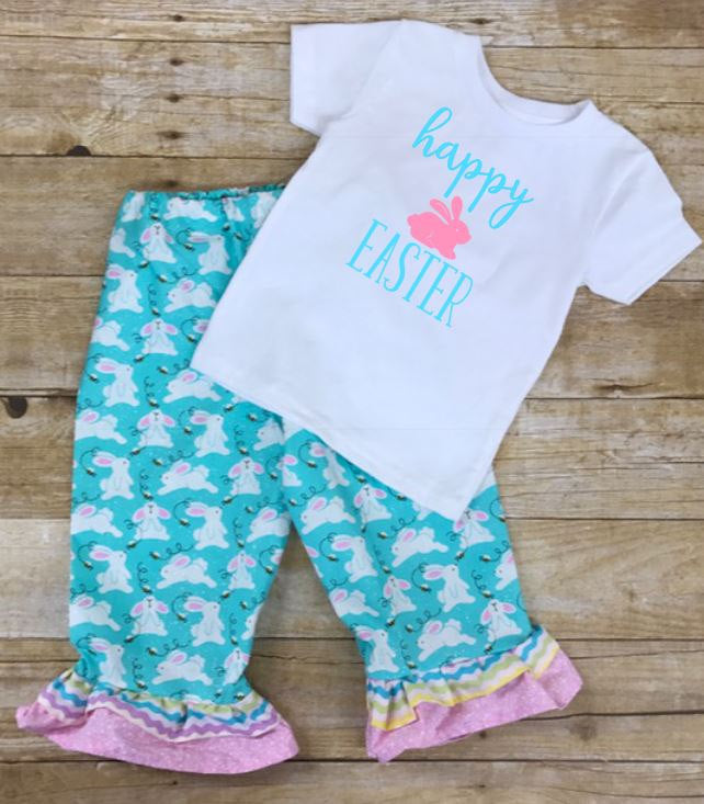 Handmade Toddler Girl Happy Easter Bunny Ruffle Pants and Shirt Outfit