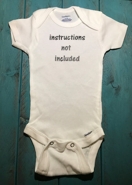 Instructions  not included baby onesie - Funny Onesie - Shower gift - baby clothes - newborn onesie