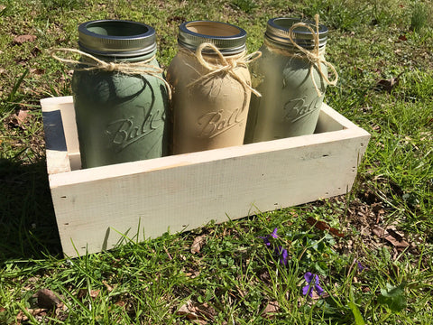 Wooden trough box with jars