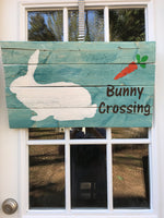 Bunny crossing pallet art, Easter wall art Easter bunny decor, Easter decorations