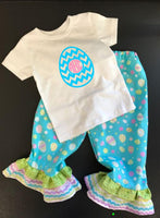 Personalized Handmade Toddler Girl Monogrammed Easter Ruffle Pants and Shirt Outfit