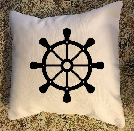 Ship Wheel throw pillow, nautical decor, Nautical throw pillow