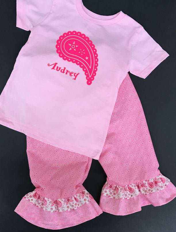 Personalized paisley pink toddler girl outfit, Girls ruffle pants outfit, toddler girl springtime clothes