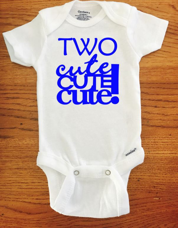 Two Cute birthday onesie ® brand Gerber Onesie Bodysuit