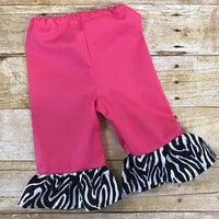 Handmade personalized monogrammed wild pink zebra girls outfit, Pink and zebra ruffle pants and top