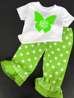 Handmade Personalized Girls monogrammed butterfly Pants and Shirt Outfit, monogrammed butterfly outfit