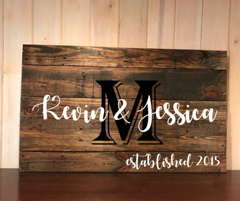 Family name and established pallet art, wall hanging, sign, home decor