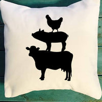 Farm animal stack throw pillow, chicken pig cow pillow, farmhouse decor pillow, southern decor pillow