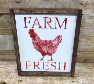 Farm Fresh Chicken sign, rustic rooster sign, wooden signs kitchen decor, farmhouse decor signs