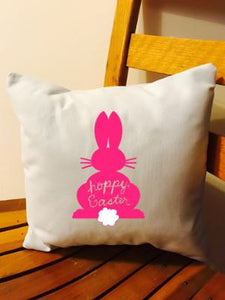 Hoppy Easter bunny rabbit throw pillow