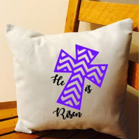 Easter cross He is Risen throw pillow
