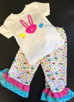 Handmade Toddler Girl Easter Bunny Chick and Easter Egg Ruffle Pants and Shirt Outfit