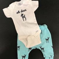Oh Deer pants and onesie infant or toddler outfit