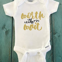 Worth the Wait ONESIE ® brand Gerber Onesie Bodysuit - Funny Onesie - Shower gift - baby clothes - newborn onesie