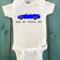 Are we there yet ONESIE ® brand Gerber Onesie Bodysuit blue car - Funny Onesie - Shower gift - baby clothes - newborn onesie