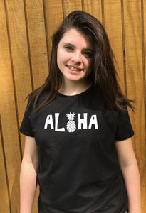 Aloha pineapple t shirt, women's t shirts with words, men's t shirts with words, teen's shirts with words t shirts with words, graphic tees