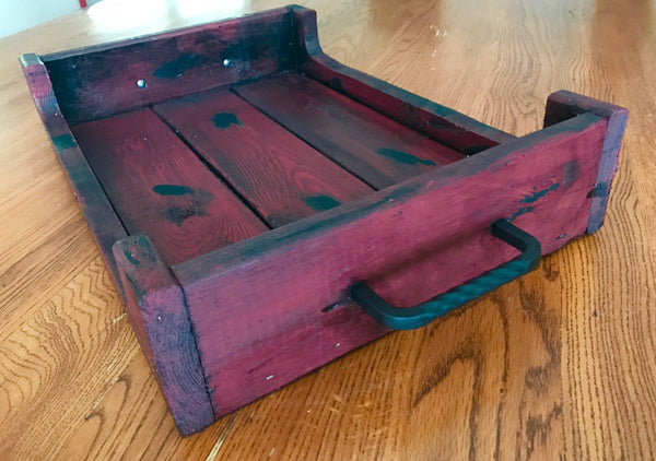 red tray with sides end view