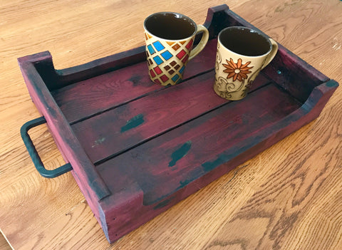 red decorative tray with sides
