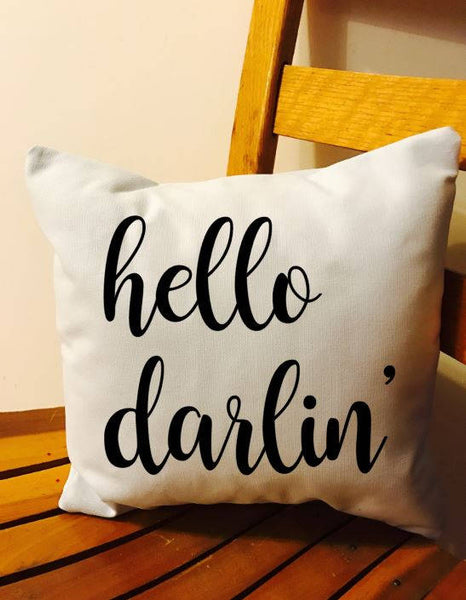 Hello Darlin' throw pillow, southern decor pillow, housewarming gift, wedding gift